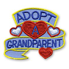 2 x 2 1/4 Inches **IRON-ON backing for easy & Snappy application** Start an Adopt a Grandparent program in your classroom or youth group where the children spend supervised time helping out someones grandparent with tasks and chores around the house. Commemorate the participation in this wonderful effort with our Adopt A Grandparent fun patch. http://www.snappylogos.com/Adopt-A-Grandparent-Fun-Patch/productinfo/2579/