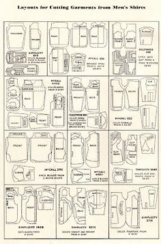 Layouts for cutting garments from men's shirts.
