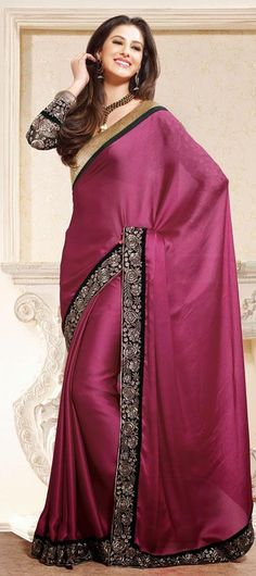 Pink Satin Embroidered Party Wear Saree