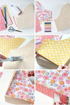 Decorare un porta documenti in legno (vedi Ikea) con la stoffa | #DIY #tutorial | Diy Decorated Magazine Holders.
