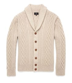 Shawl Collar Cardigan.  Shop now online: www.dunhill.co.uk/products/sks215ecru/shawl-collar-cardigan