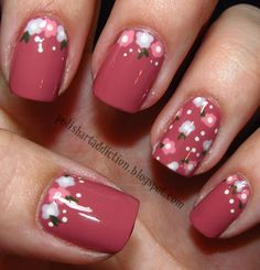 polish art, nail polish, red flower, pink nails, flower nails, nail designs, flower designs, nail arts, little flowers