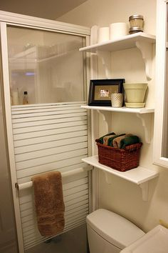 DIY bathroom shelving half baths, bathroom shelving, shower doors, bathroom storage, small bathrooms, kid bathrooms, tiny bathrooms, guest bathrooms, diy bathroom shelves