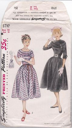 50's Simplicity 3710 Junior Pattern -- Great details on the neckline and sleeves!