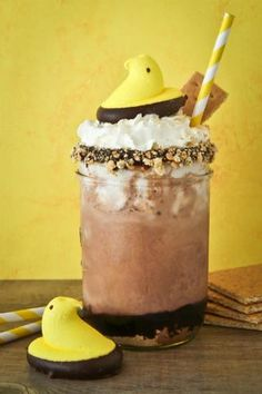 Over The Top Peeps S'Mores Shakes.  #PeepsFan