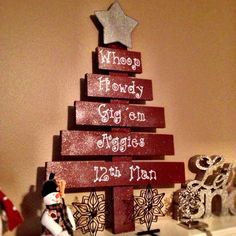 Handmade Wooden Texas A&M Inspired Aggie Christmas Tree