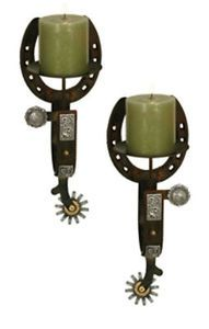 Horseshoe/spur candle sconces