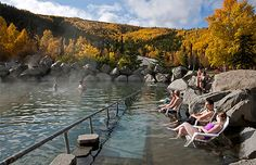 People soaking in the outdoor pool at Chena Hot Springs; Near Fairbanks, Alaska