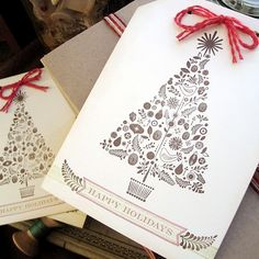 Image Via: Britta Nickel christmas cards, xmas trees, card designs, greeting cards, gift tags, red christmas, holiday gifts, happy holidays, xmas cards