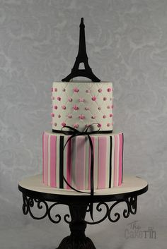 Paris Themed First Birthday cake - by The Cake Tin @ CakesDecor.com - cake decorating website