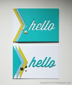 two handmade cards from My Paper Secret ... luv the way the two cards use all of the paper by using die cuts on one and negative space on the other ... luv the colors ... turquoise and white with accent colors ,,,