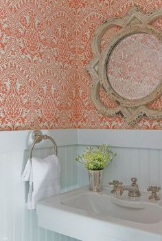 JD Interiors - bathrooms - powder room, powder room wallpaper, wallpaper for powder rooms, beadboard, powder room beadboard, beadboard powde...
