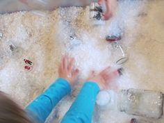 Sensory play with artificial snow