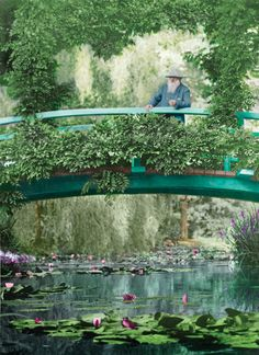 The artist, Claude Monet in his garden in Giverny, France.