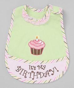 Loving this Green & Pink Cupcake Bib on #zulily! #zulilyfinds
