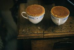 Stroopwaffles; one of my favorite things about the Netherlands; waffle cookies filled with caramel; set them over a hot cup of tea and the caramel softens to perfection