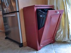 DIY Wood Tilt Out Trash or Recycling Cabinet ~ all plans and measurements and supplies listed