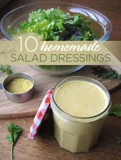 10 Homemade Salad Dressings I want to explore this post: Most store salad dressings start with soybean oil and I don't like soy. Nor can I have vinegar so I need to be creative.
