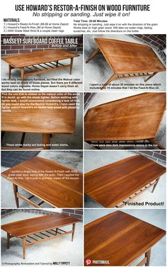 Fast, cheap and easy wood furniture restoration.  DIY, mid century, danish modern, paint wood, sanding, refinish, furniture restoration, Howard's Restor-a-finish