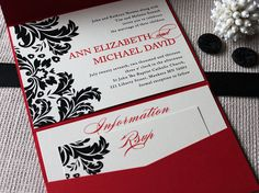Red, black and ivory Damask Wedding Invitation Collection