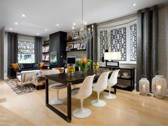 Candice Olson black and white dining room