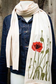 Creme poppy illustration scarf from Flytrap