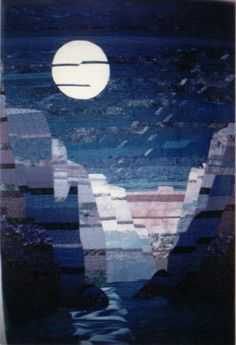"""Phantom"" :  landscape quilt, canyon in moonlight, by Barbara Jakucki"
