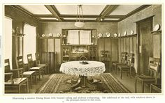 Modern Dining Room with beamed ceiling and skeleton wainscoting from 1915 pre-finished woodwork brochure
