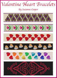Valentine Heart Bracelets Pattern by Suzanne Cooper at Bead-Patterns.com
