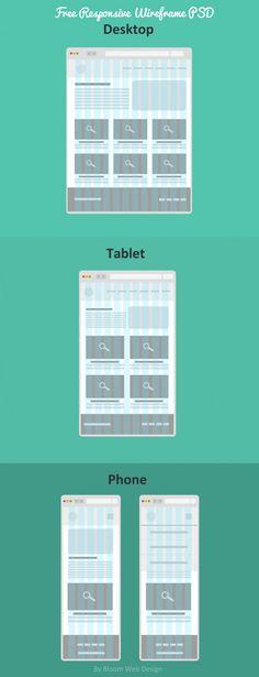 Flat Free Responsive Wireframe (PSD File) - Bloom Web Design