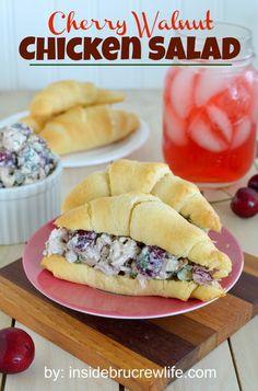 Cherry Walnut Chicken Salad - easy chicken salad made with fresh cherries, walnuts, and cilantro