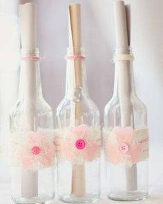 """These bottles contained """"love letters"""" thanking each guest for being part of the special day"""