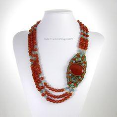 Shibori Girl: bead embroidery embroideri necklac, embroid necklac, beauti beadwork, kate tracton, bead beauti, bead embroideri, carnelian bead, beads, red carnelian