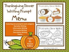 FREE Thanksgiving writing prompt menu page. Both color and black/white copies included.