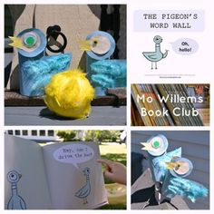 Mo Willems - fun Pigeon related activities: word wall, word matching