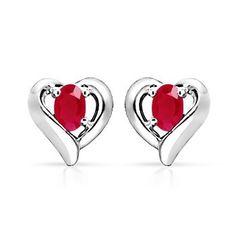 Oval Ruby Heart Earrings #Angara