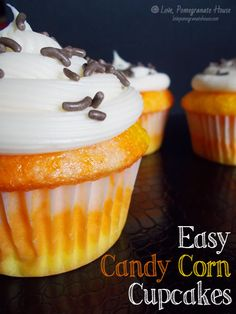 Easy Candy Corn Cupcakes
