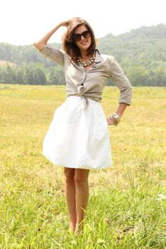 skirt and tied button up!