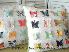 chitter chatter, pillow patterns, almofada, butterflies, flutter, applique patterns, ales, butterfli pillow, pillows