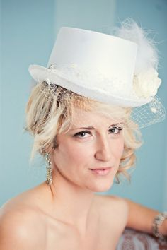 White Bridal Top Hat with birdcage veil - for that classic yet sexy look. $75