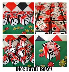 dice favor box or invitation box - perfect for a casino poker party or gambling Las Vegas game night - printable or ready made available on Etsy, $12.75