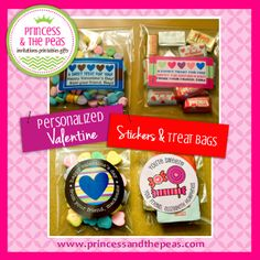 Personalized Valentine's Stickers & Treat Bags  #valentinesday #kids