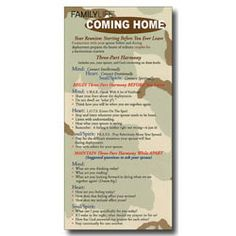 PRAYER - Coming Home laminated military prayer card. Anticipating the return of a loved one from military service can be overwhelming. Coming Home - Military Prayer Card can help you relate with your spouse on a deeper level. Included are three ways (Begin, Maintain, and Continue) that you can pray for your spouse and connect with God so the return home is a harmonious reunion. www.operationwearehere.com/prayerresources.html