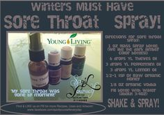All Natural Young Living Sore Throat Spray! Lots of Essential Oils Recipes @: www.facebook.com/spoilyourselfeveryday