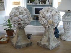 Seashell Encrusted Topiaries