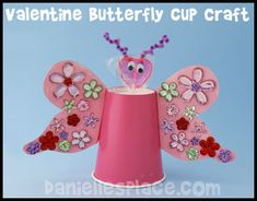 These cute Valentine's Day butterflies were made using cups and construction paper.