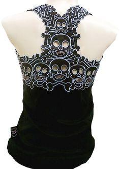 Rockabilly Rockabilly Punk Rock Baby Tattoo Tiki Skull Tank Top - Tops