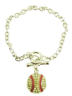 Fastpitch Softball Toggle Bling Bracelet ($9.95)