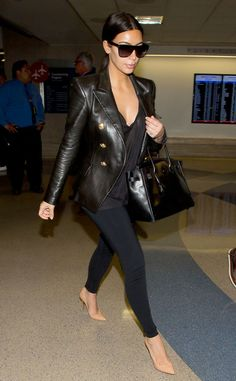 Kim Kardashian does her jet-setting in leather!