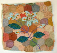 Hand Appliqued and Embroidered Textile Picture on Vintage Patchwork